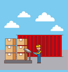 logistic worker and container cradboard boxes on vector image
