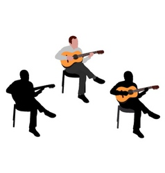Man playing guitar vector