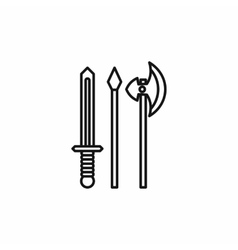 Medieval weapons icon outline style vector image