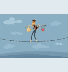 Migrant worker walking on barbed wire fence vector