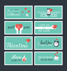 modern flat design valentines day greeting cards vector image