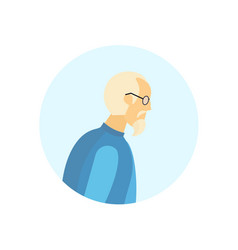 old man glasses profile avatar elderly grandfather vector image