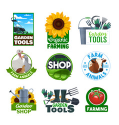 Organic farming garden tools and cattle animals vector