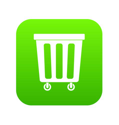 outdoor plastic trash can icon digital green vector image