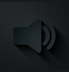 Paper cut speaker volume icon - audio voice sound vector