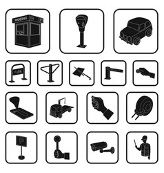 parking for cars black icons in set collection for vector image vector image