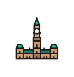 Parliament hill ottawa flat color line icon vector