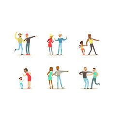 people quarreling and arguing set man and woman vector image