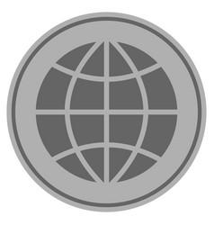 Planet globe silver coin vector