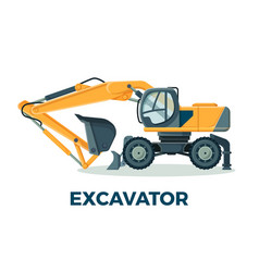 Powerful modern excavator with big ladle for vector