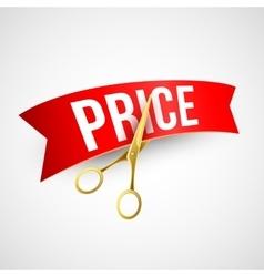 Price cut Gold scissors vector image