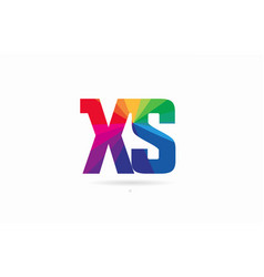 rainbow colored alphabet combination letter xs x vector image