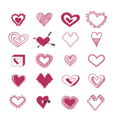 red doodle hearts vector image