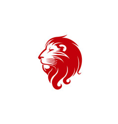 Red lion head logo vector