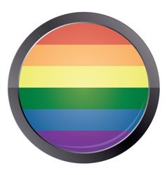 Round button with rainbow flag vector image
