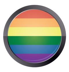 Round button with rainbow flag vector