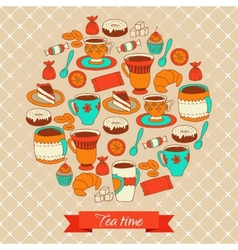 Round pattern with tea coffee and sweets vector image