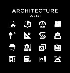 Set glyph icons architectural vector