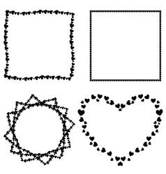 set of black hearts photo frames for valentine vector image