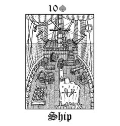 ship tarot card from lenormand gothic mysteries vector image