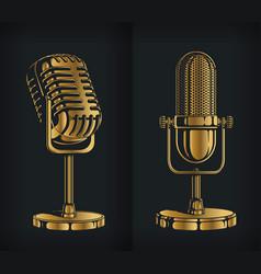 Silhouette classic gold retro microphone logo vector