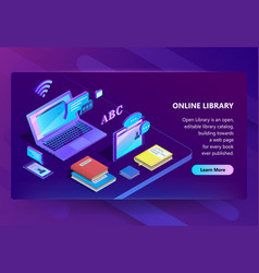 site with online library e-learning portal vector image
