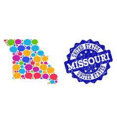 Social network map of missouri state with chat vector