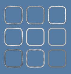 square nautical ropes frames set vector image
