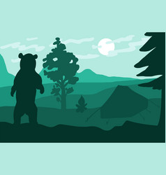 Standing wild bear in camping near forest vector