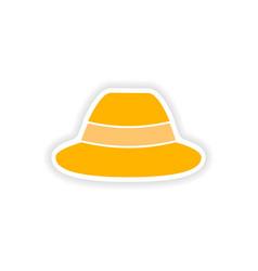 Stylish paper sticker on white background hat vector