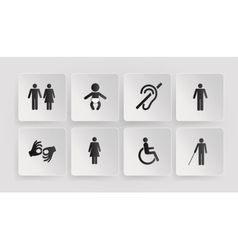 symbols of disabled toilets baby vector image