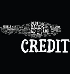 The lowdown on bad debt credit cards text vector
