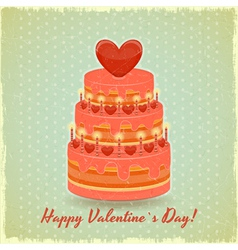 Valentines Cake on Vintage Background vector image