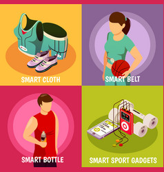 wearable sport devices isometric vector image