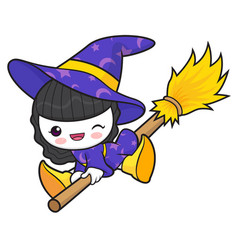 witch character fly in the sky halloween day vector image