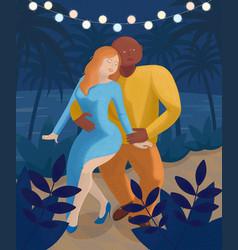 Woman and man dance bachata on beach vector