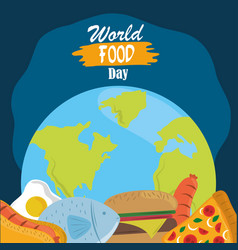 world food day healthy lifestyle meal planet vector image