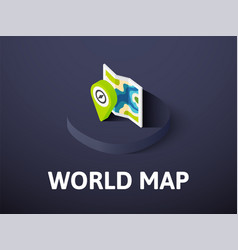 world map isometric icon isolated on color vector image