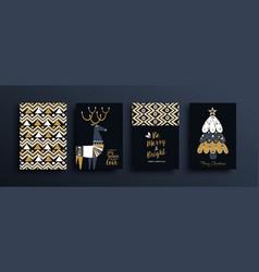 year gold folk deer pattern card set vector image