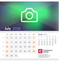 calendar for july 2018 week starts on sunday 2 vector image vector image