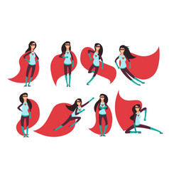 comic superwoman actions in different poses vector image