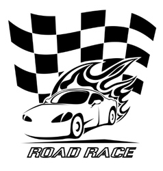 Road Race poster design in black and white vector image vector image