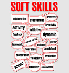soft skills presentation slide with speech vector image vector image