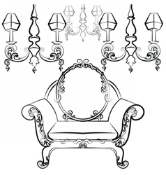 Classic luxury style set of furniture vector image
