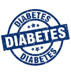 diabetes blue round grunge stamp vector image vector image