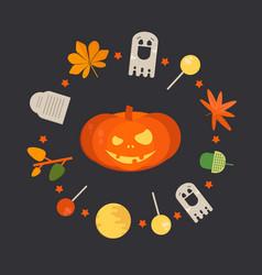 orange smiling pumpkin vector image vector image