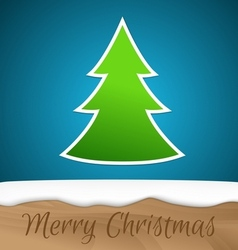 Paper Christmas tree with wooden board vector image