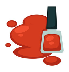 red nail polish in bottle and its sample spot vector image