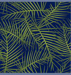 tropical leaves on navy blue background vector image