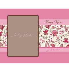 baby girl arrival card with frame vector image vector image